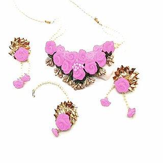VR Boss Fashion Bridal Mehandi Moti Haldi Occasional Floret Handmade Pink Flower Jewellery Set