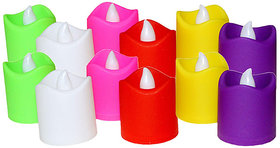 Sketchfab Smokeless Led Candles Flame Less Multi Auto Color Change Light(Make in India Pack of 12)