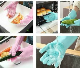 Multifunction Silicone Cleaning Gloves Magic Silicone Gloves For Kitchen Household Silicone Dishwashing Glo