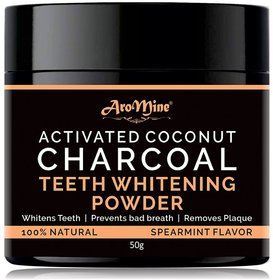 AroMine Activated Coconut Charcoal Teeth Whitening Powder 50gm