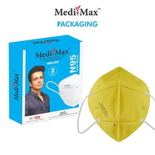 Medi-Max Face Mask (Yellow -Pack of 10) Ultra Comfortable FFP2 Protection Mask with Carbon filter