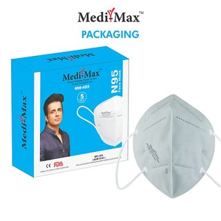 Medi-Max Face Mask (Grey -Pack of 10) Ultra Comfortable FFP2 Protection Mask with Carbon filter