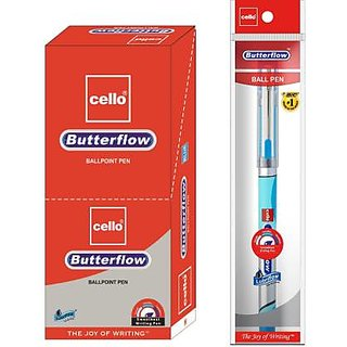 Cello Butterflow Blue Ball Pen  (Pack of 10)