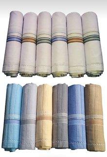men cotton handkerchief set of 12 (hanky)