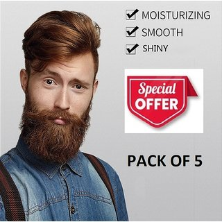 Beard and Moustache Grooming Smoothing Treatment with Essential Oil (60ml x 5 Bottles)