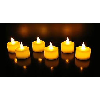 UniversalLED Flickering  Tealight Diya Candle  (White, Pack of 12)- Multicolour