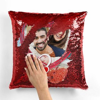 Personalized Photo Red Magic Magical Cushion Pillow with 1 Photo Gifting Gift Cushion for Your Loved Ones