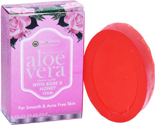 Wellplus Aloevera with Rose and Honey Herbal Soap Pack of 2