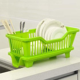 MARKWELL 3 in 1 Large Kitchen Sink Washing Dish Basket with Tray