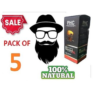 Moustache and Beard Care Facial Hair Grow Essential Oil for Men (60ml X 5 Bottles)  Non-Sticky Oil