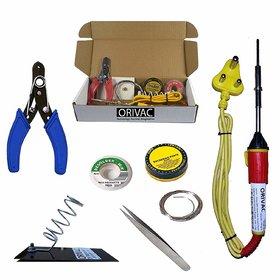 Orivac 25W Soldring Iron Kit in 25W Soldering Iron, Tweezer, Iron Stand, Soldering Paste, Soldering Wire, Desoldering Wi
