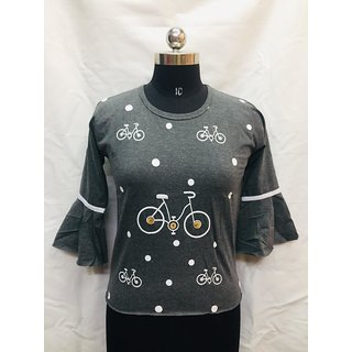 PMR Cycle Print Dark Grey  Bell Sleeve Top For Women's  Girls