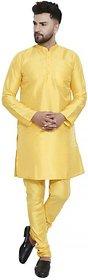 Bonnier Men's Yellow Silk Blend Plain Kurta Set