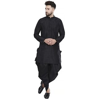 Bonnier Men's Black Silk Blend Plain Kurta Set