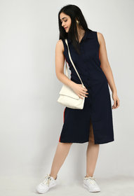 Alisha Fashion Crepe Navy Shirt Dress