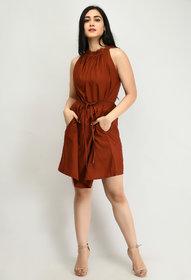 Alisha Fashion Crepe BROWN Fit And Flare Dress