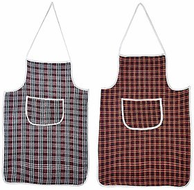 Fabfurn Multi Check Design Waterproof Kitchen Apron with Front Pocket Set of 2 Pcs (Color As Per Availability)