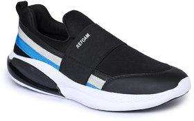 Refoam Men's Black Textile Slip On Casual Sneaker Shoes