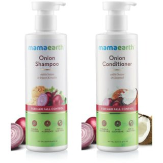 Mamaearth red Onion Hair Fall Shampoo+Conditioner for Hair Growth  Hair Fall Control, with Onion Oil  Plant Keratin