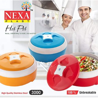 styleitainless steel Casserole, Hot Pot Color capacity 3000ML (PACK OF 1)