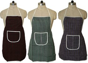 Fabfurn Check Design Cotton Waterproof Kitchen Apron with Front Pocket Set of 3 Pcs (Color As Per Availability)