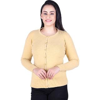 Varenyam Lycra woollen Round Neck Mustard colour Cardigan