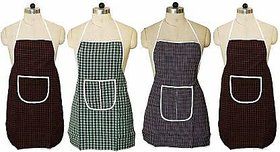 Fabfurn Multicolor Checks Design Cotton Kitchen Apron with Front Utility Pocket (Pack of 4) Color As Per Availability