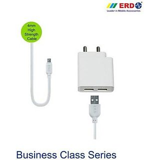 ERD DUAL PORT FAST CHARGER TC 60 2 A Multiport Mobile Charger with Detachable Cable  White, Cable Included  Adapters   Chargers