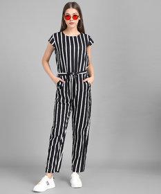 Vivient Women Black Stripe Printed Front Knot Jumpsuits