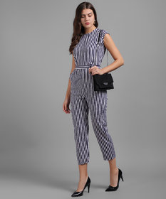 Vivient Women Nevy Blue Small Stripe Printed Front Knot Jumpsuits