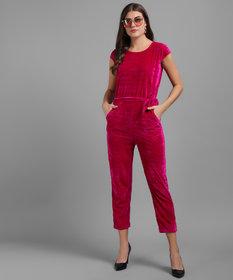 Vivient Women Pink Plain Velvet Jumpsuits
