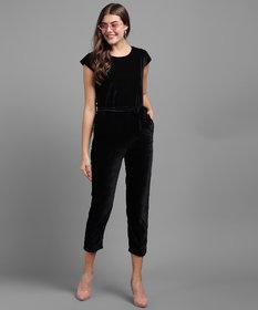 Vivient Women Black Plain Velvet Jumpsuits