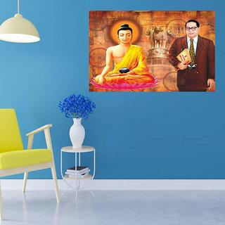 Suurmul Buddha with Ambedkar Under Mind  Wall Sticker Office Study Room and Wall Sticker(Budha with Ambedkar-7)