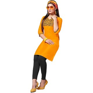 designer slub silk Kurtis with embroidery and face mask for girls and women (mustered color)