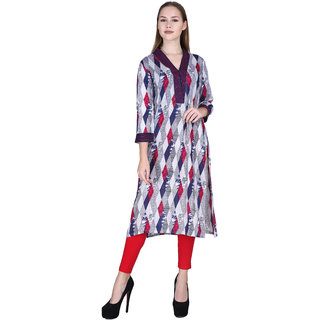 Avyanna Stylis Women's Multicolor Checked Printed Rayon Kurti
