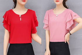 Vivient Women Red And Pink Moti Top Combo