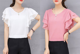 Vivient Women White And Pink Moti Top Combo