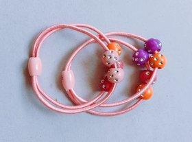 Girl's Mini Elastic Soft Rubber Hair Bands for Kids (Multicolour) -2 Piece