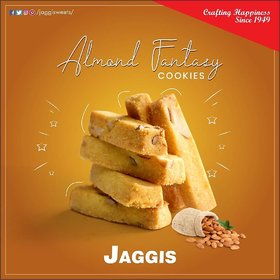 Jaggis Special Almond Fantasy Cookies - Pack of 2 - 420 gm each (Total 840gm)
