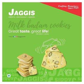 Jaggis Milk Badam Cookies - Pack of 2 - (420gm each) - Total 840gm