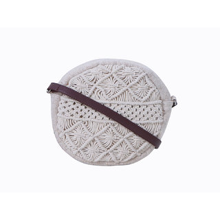 Diwaah White Fabric Sling Bag