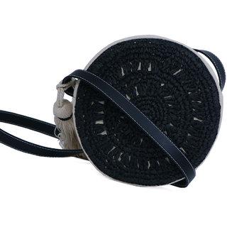Diwaah Black Fabric Sling Bag