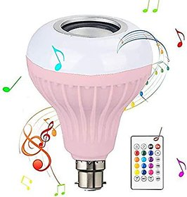 LED Light Bulb, Smart 12W E27 LED Bluetooth 3.0 Speaker Music Bulb RGB Change with 24 Key Remote Controller for Home, Be