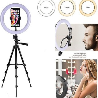 LED Selfie Ring Light with 3120 tripod for Live Stream/Makeup/YouTube Video, Dimmable Beauty Ringlight