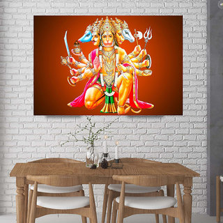 Surmul Panchmukhi Hanuman Acrylic Wall Sticker Vastu Rectificationof Home, Office and Factory Panch Mukhi Hanuman-32)(