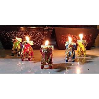 Set of 6 Elephant Tea Light Holder Candle Stand for Home Decor