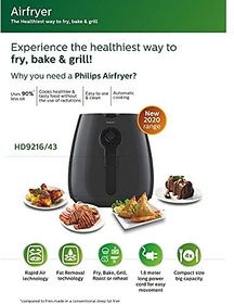 Philips HD9216/43 Air Fryer uses up to 90% Less Fat and 1.8 m Retractable Cord (Grey)