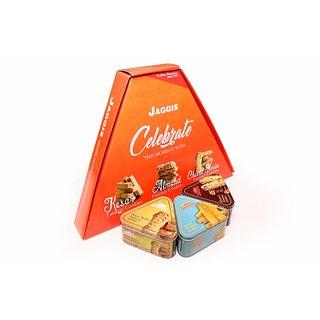 Jaggis Special Kesar Fancy Cookies+ Almond Fancy Cookies + Cheese Hearbs Fancy Cookies Gift Pack (3 Tin Packs Inside Box)