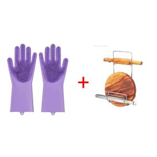 Divsha Combo Pack Of Rolling Pin Holder and Sillicon Gloves Multicolor