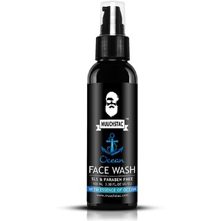 Muuchstac Men's Ocean Face Wash, Anti Acne  Pimple, 12 hrs Moisturizes, All Skin Types, Skin Brightening, 100 ml